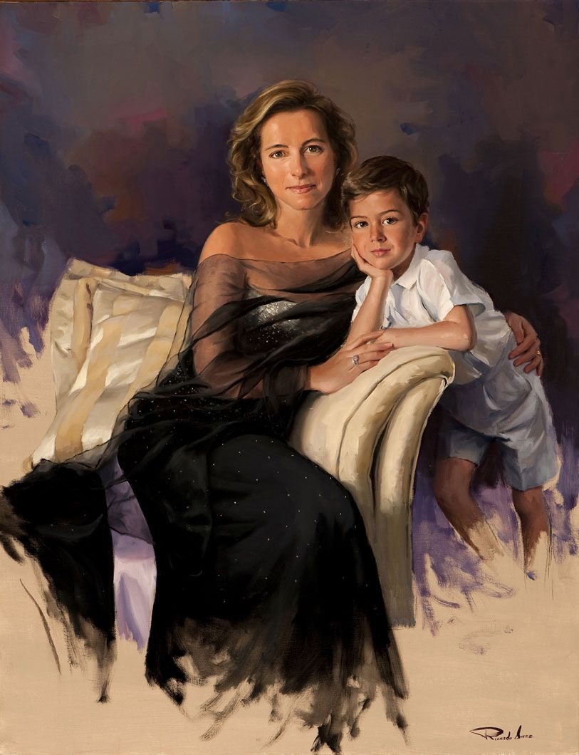 Ricardo-Sanz-Retrato-de-Nieves-Segovia-con-su-hijo-Enrique-116x89-cms