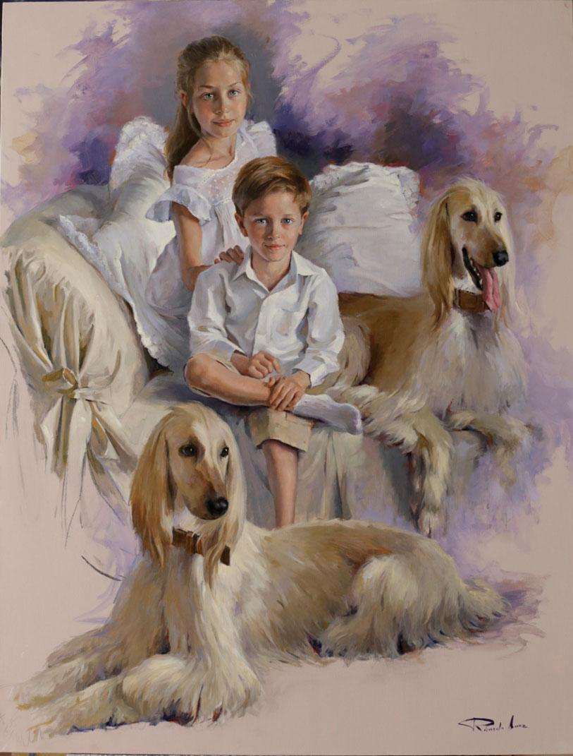 Ricardo-Sanz-Retrato-de-ninos-con-perros-Afganos-116X89